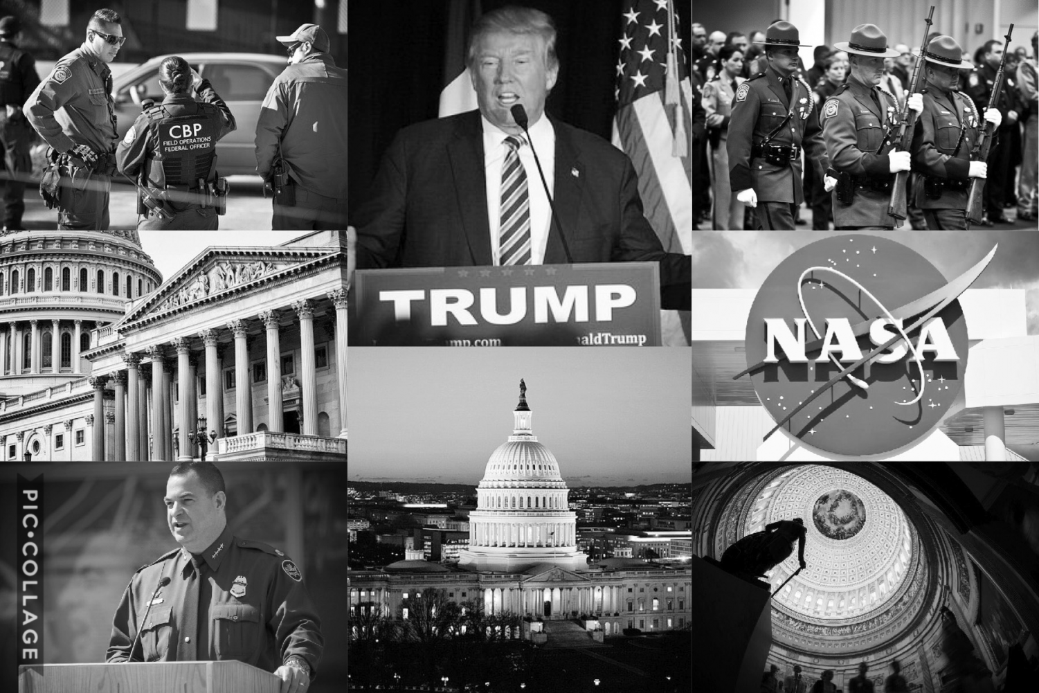 Collage of U.S Customs, Border Patrol, President Donald Trump, NASA, Capitol; agencies that have been involved in the government shutdown.