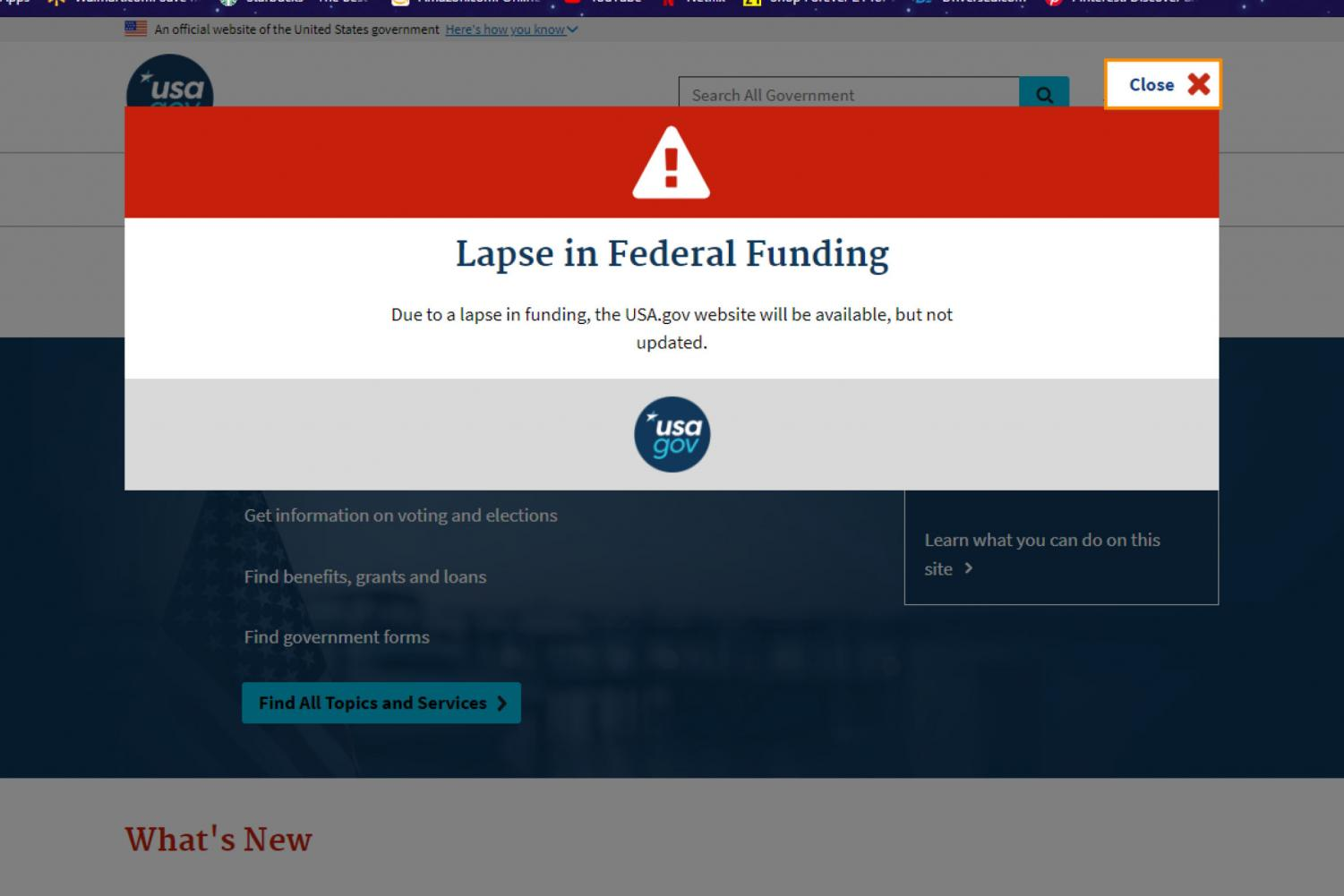 Those interested in finding information on usa.gov will find it limited by the shutdown.