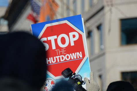 Hundreds rally at the White House for an end to the government shutdown on January 19, 2019.