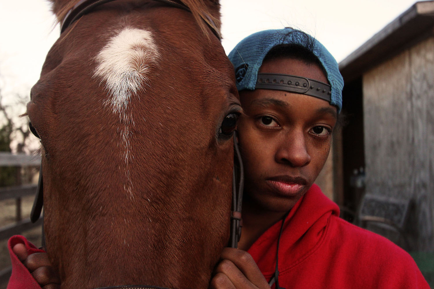 Junior Ty Hall stands with his horse, King, outside the pasture.