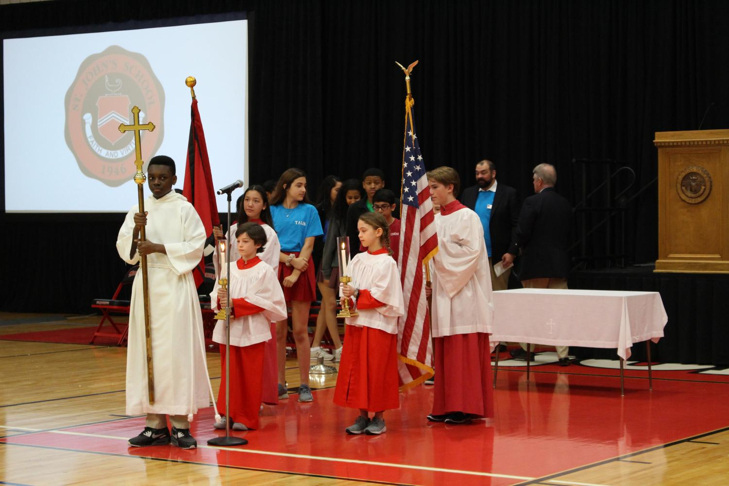 Upper, Middle and Lower School students led the procession.