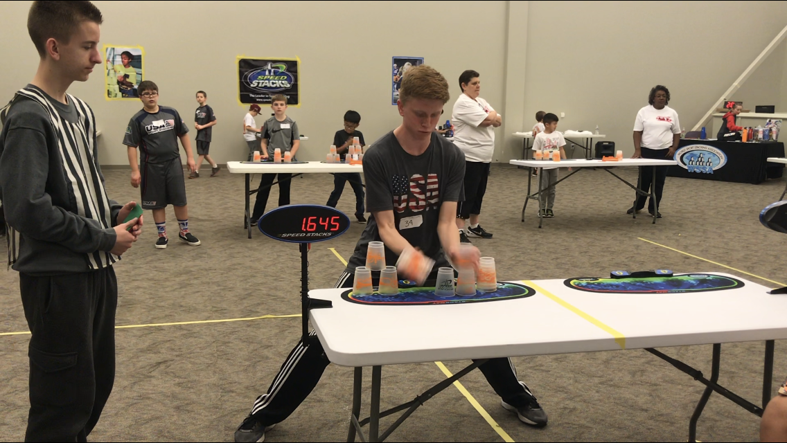 FASTSTACKER: Cameron Fetter competes in a Sacramento tournament in the 3-6-3. Fetter clocked in a 2.182 in this event.