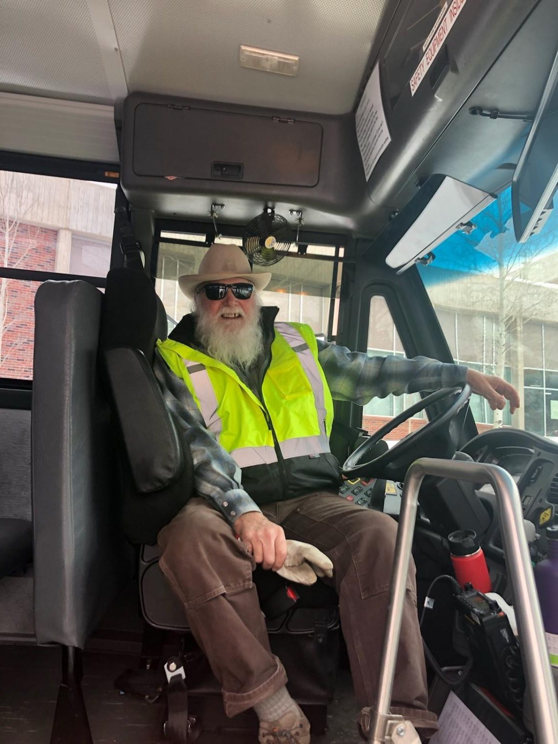 Roy West on Bus G before his afternoon route.
