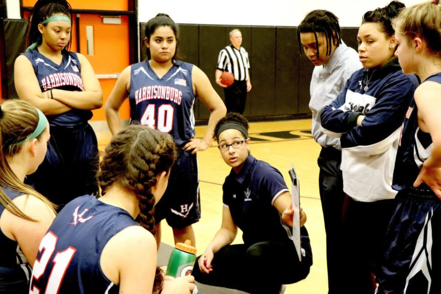 Coach+Allysia+Rohlehr+talks+to+the+JV+girls+basketball+team+during+a+time+out+in+the+second+quarter+of+a+game+at+Charlottesville.++