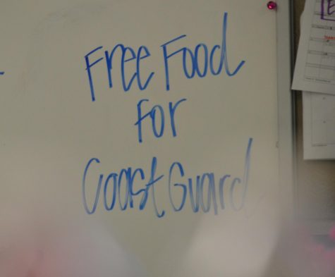"A sign reads ""Free food for Coast Guard"" on a menu board during the 2019 government shutdown."