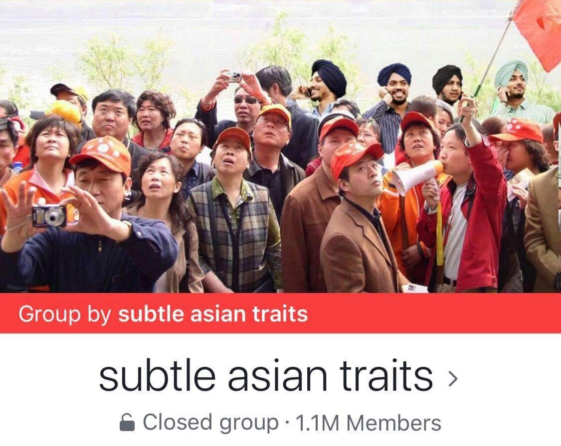 Subtle Asian Trait's Facebook group cover photo depicting Asian tourists.