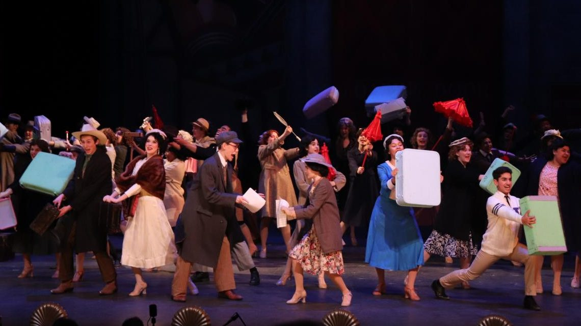 "The writers of ""Pretty Lady,"" the show that ""42nd Street""  follows, lead the actors of the show in the number ""Getting Out of Town"" where they celebrate ""Pretty Lady"" beginning its touring run."