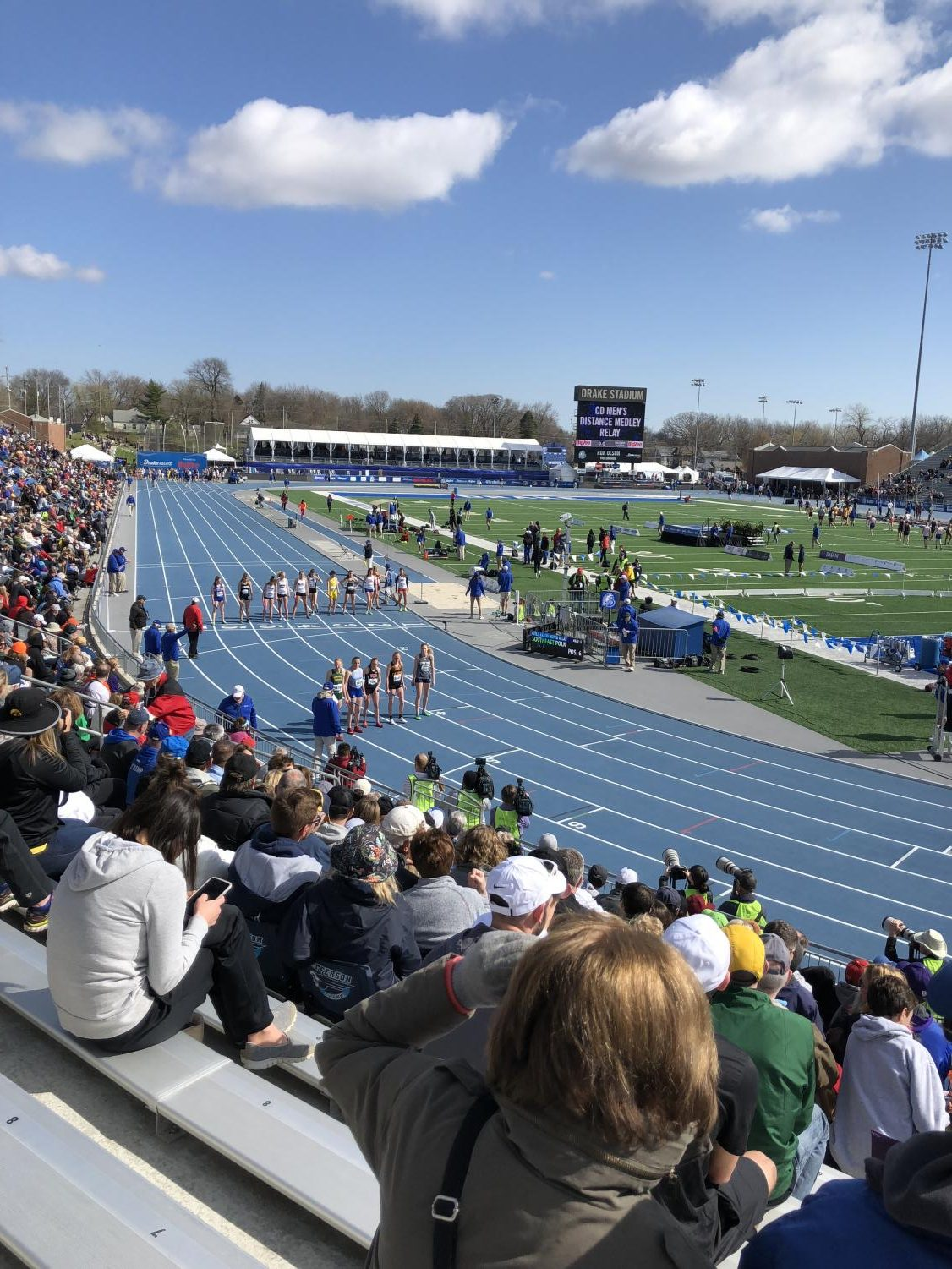 The finest 4x800 meter runners from all four classes  line up for their final event at the 2018 Drake Relays.