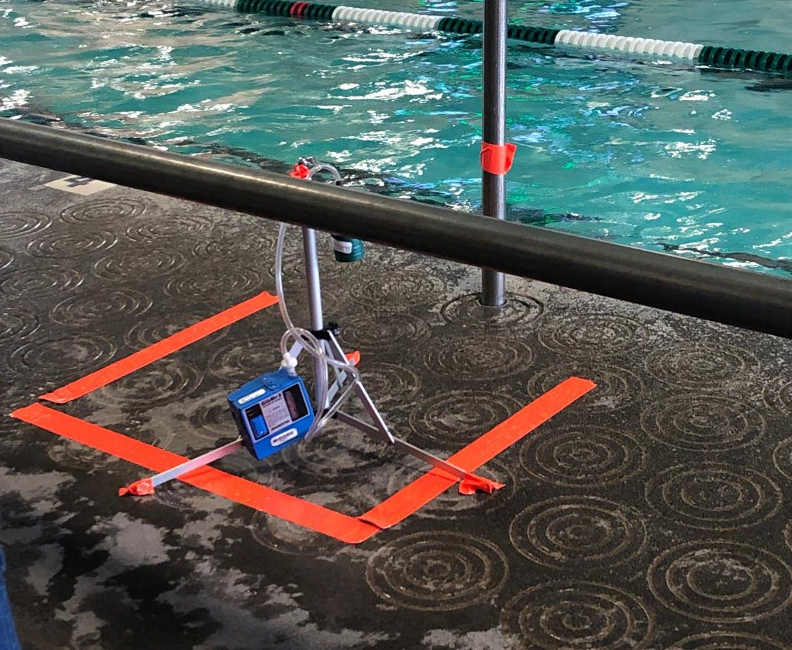 TRC Solutions tested the air quality in the swim center on the Jan. 24 meet against Lake Oswego. They were testing for trichloramine levels, which can cause breathing problems in pool houses if the level get too high.