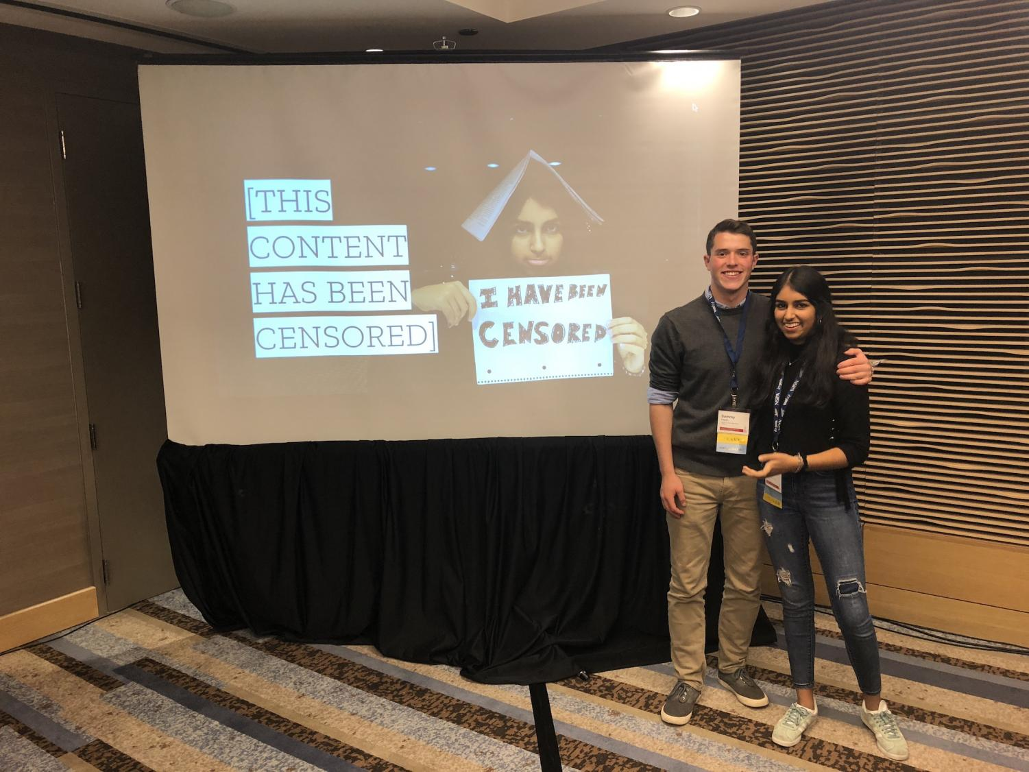 Senior Sammy Kagan (left) and junior Avani Kalra (right) pose after presenting at the NSPA/JEA High School Journalism Convention about their experiences with censorship and advice to students at other schools.