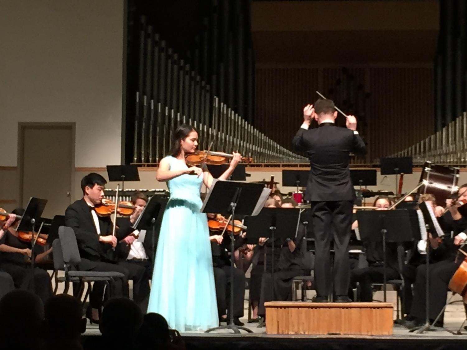 "Violinist Annie Warner performs ""Concerto No. 5 in A Major"" by Henri Vieuxtemps with the Quad City Youth Symphony on Feb. 9."