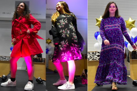 STYLE:   Above, left, freshman Danielle Finn modeled a red button down coat. Senior Ari Sassover, middle, donned a black floral dress and corduroy jacket. Sophomore Rebecca Cohen, right, wore a long floral dress with sandles.  BP Photos by Neima Fax
