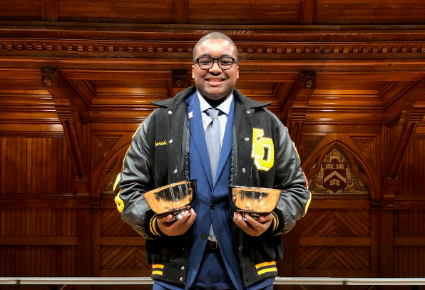 Marc Wynne advances to finals and brings home the winning cups for placing 2nd in Humorous Interpretation and 4th in Program of Oral Interpretation.