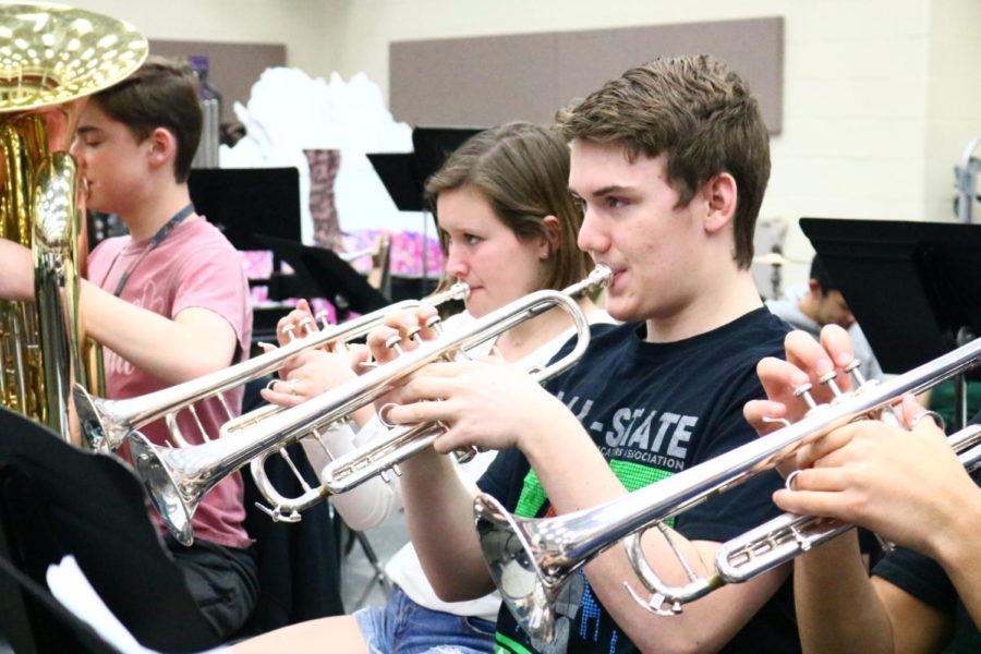 Coppell High School senior Trevor Holmes plays his trumpet during seventh period on March 25. Holmes placed first chair in the state for the Texas Music Educators Association (TMEA) All-State Convention.
