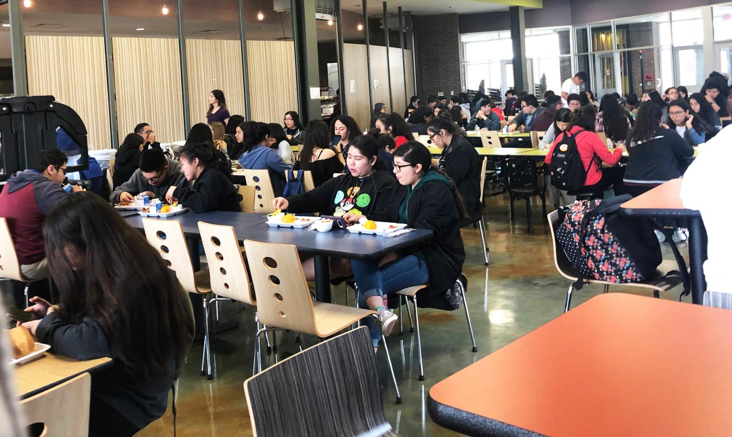 VMT students eat in the cafeteria during a recent lunch hour.