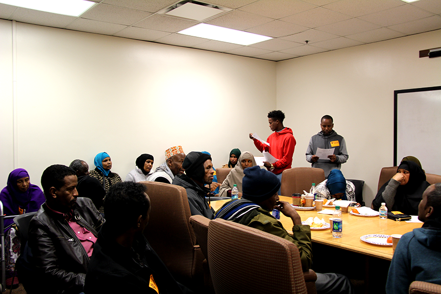 """South students and staff helped out at the Somali family needs assessment meeting to make sure it ran as smoothly and as efficiently as possible. """"I love that it was a collaborative event where there was teacher, social workers, counselors, admin, and other support staff in the meeting space so I felt empowered after that meeting,"""" said Raqiya Mohamed."""