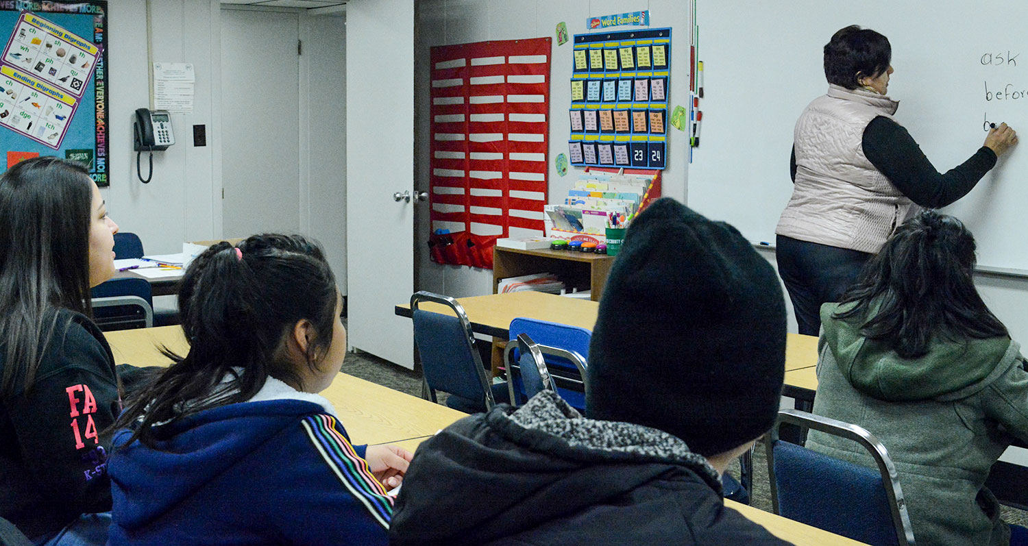 Lee* learns English at the Seward County Community College Colvin Center. Attending class and learning from Sonia Hernandez and other Colvin instructors helps the Guatemalan work toward her goal of an education.