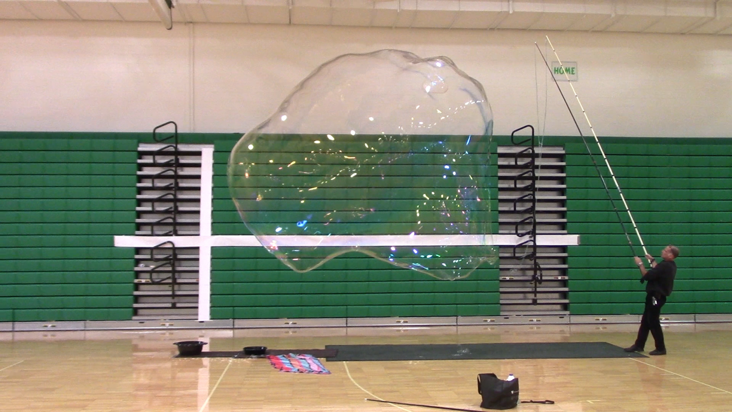 Gary Pearlman performs a test run of the bubble in the Wood Gym.