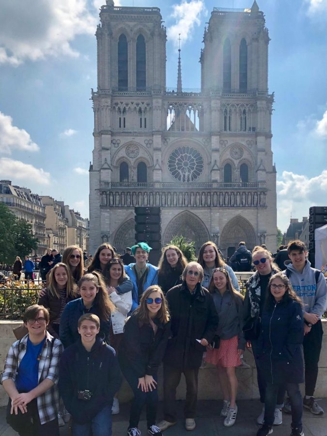 Triton+students+pose+in+front+of+Notre+Dame+the+day+before+the+devastating+fire.%28Photo+courtesy+Regina+Symonds%29