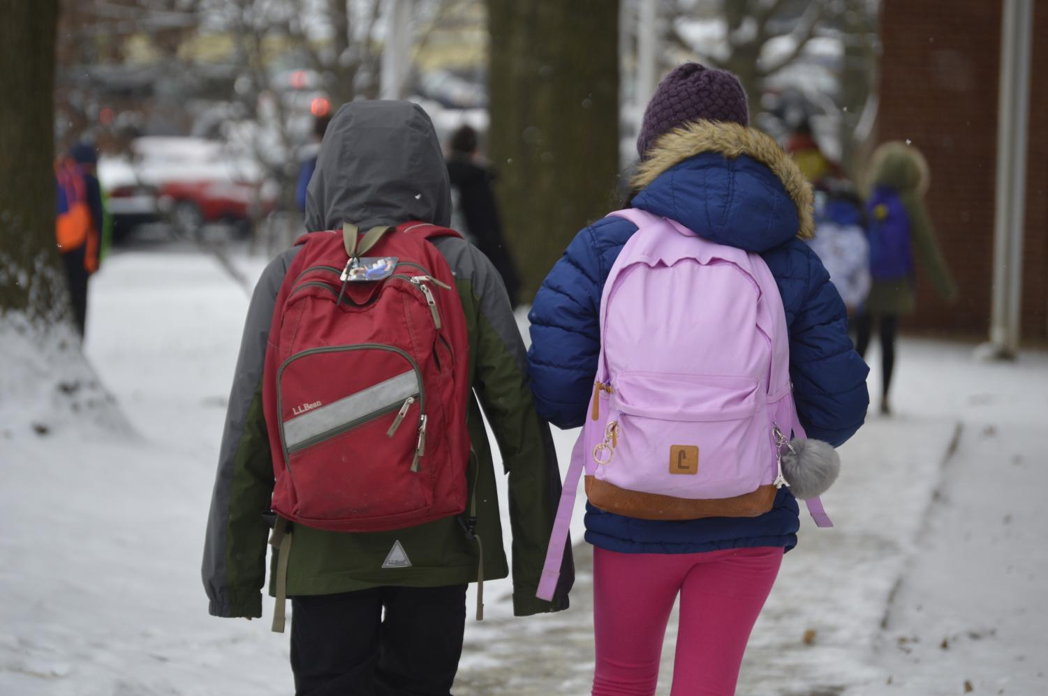 Two students walk home from school in the snow today, Friday, February 1. Many people were upset that school was not cancelled today. However, many students actually chose to walk home rather than take the bus.