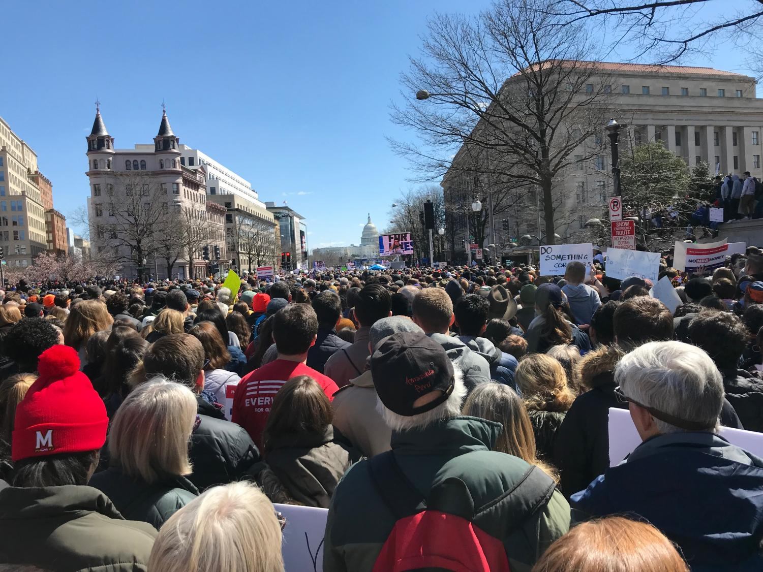 Mason student Tessa Boneau took this photo when she attended the March for Our Lives last March. The march was held on a Saturday in DC, and many Mason students participated.