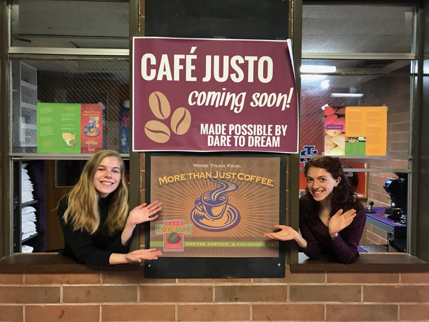 Seniors Lenora Mathis and Brigid Hanley one year ago anticipating the opening of Café Justo.