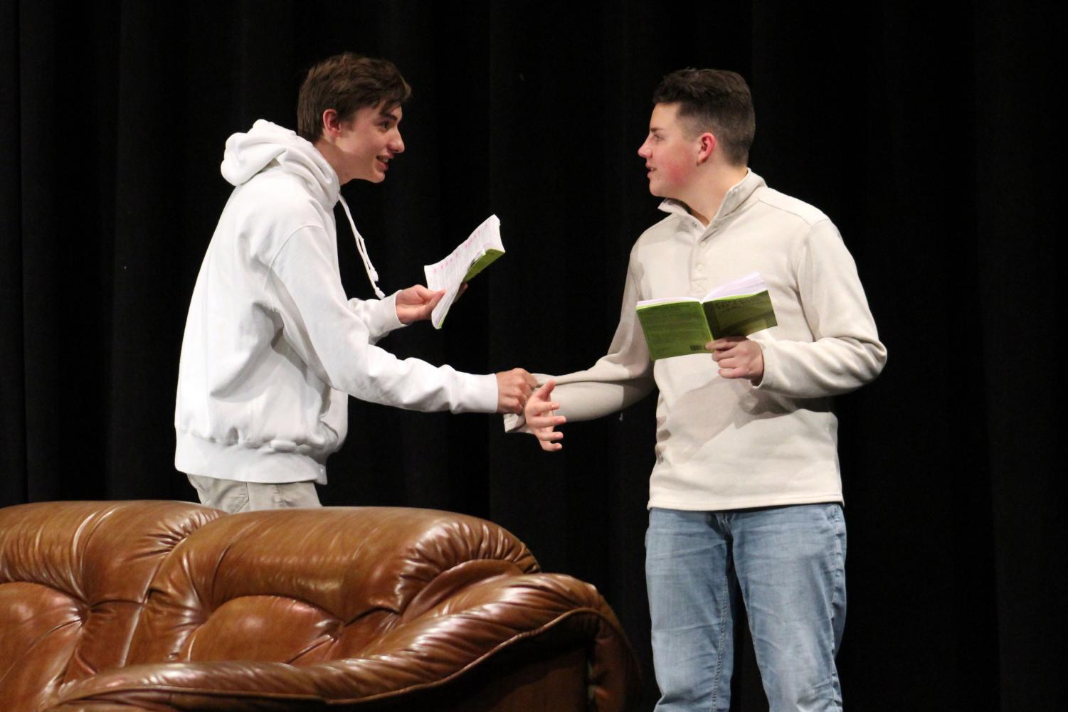 Sophomores Cole Kanne and Isaac Scott rehearse for the upcoming spring play