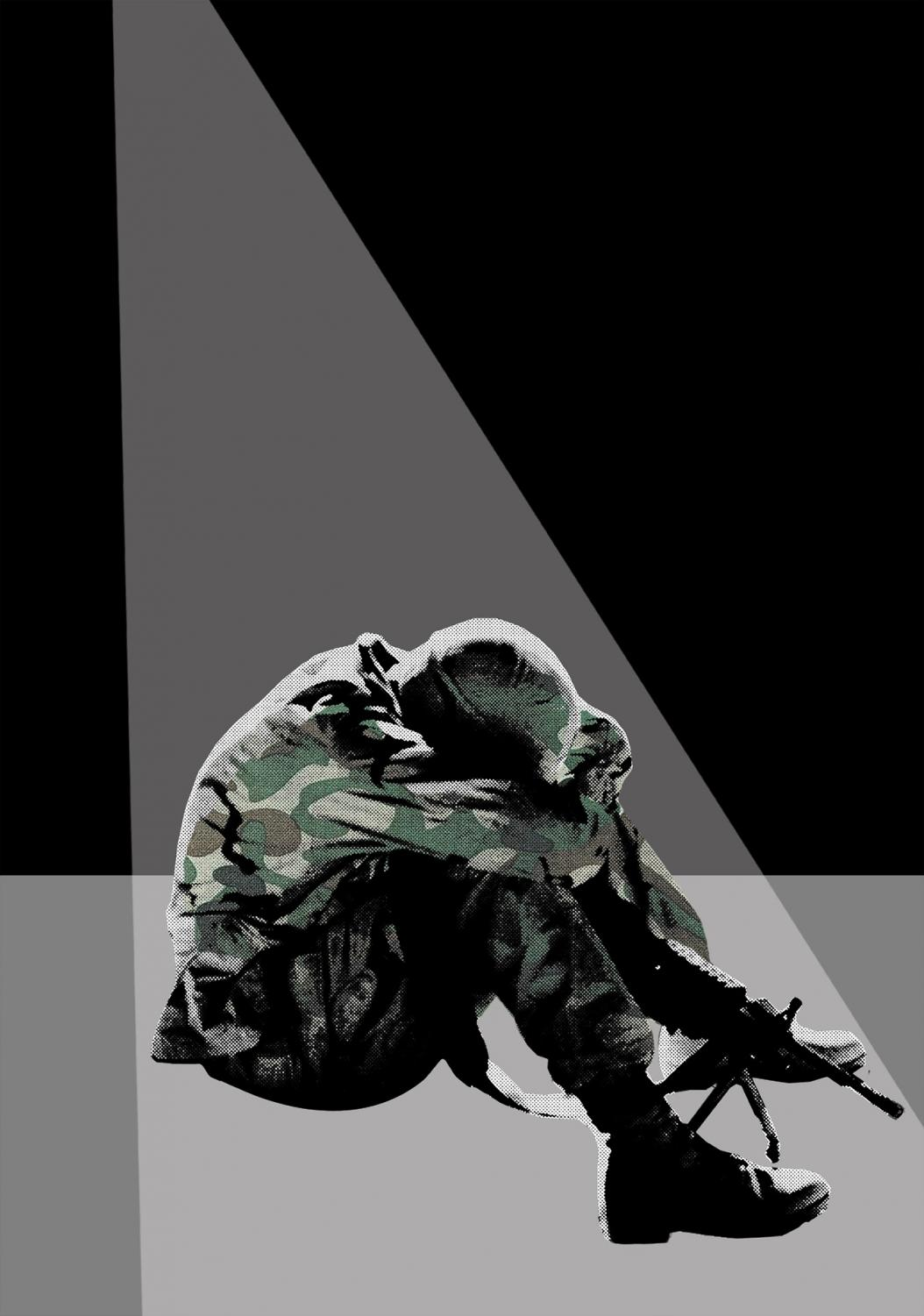 A soldier sits in isolation. While military post-traumatic stress disorder is commonly associated with experiences from war, military sexual trauma is also a leading cause of PTSD.