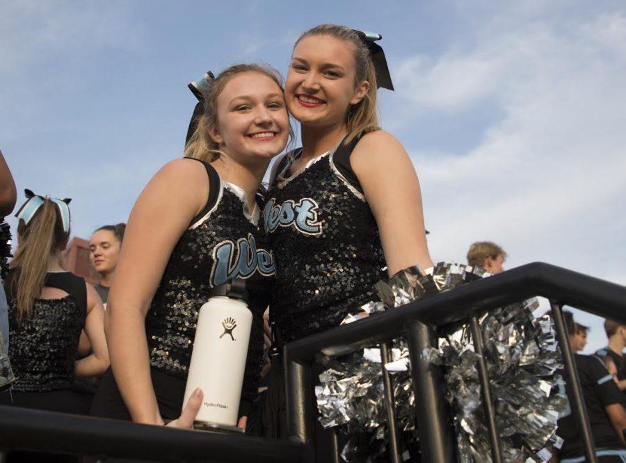 Senior Kristin Wilson and freshman Kelsea Wilson take advantage of the chance to dance as teammates