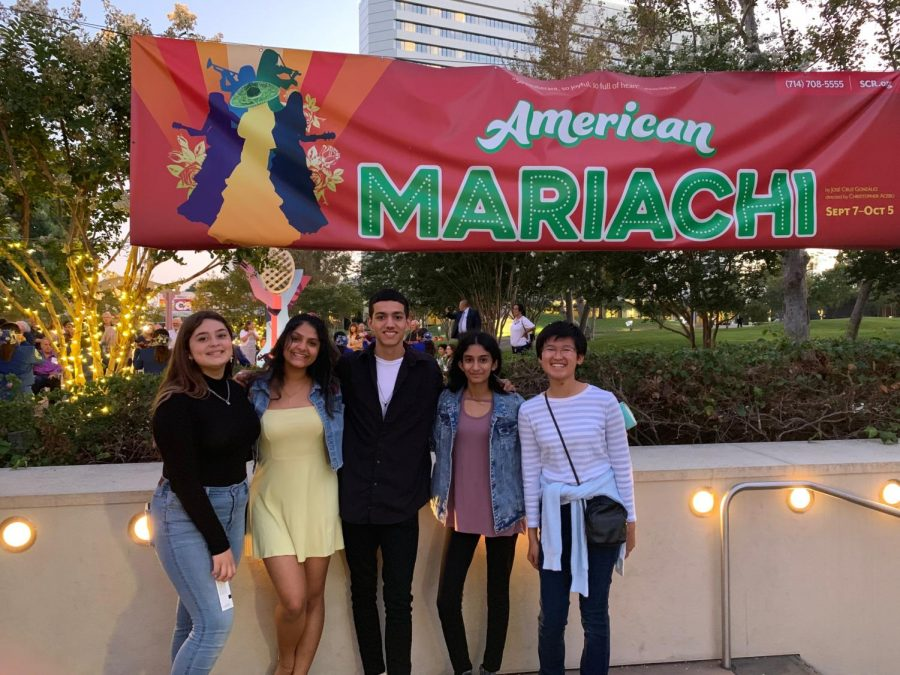 Cappies+members+sophomore+Paris+Suttle%2C+junior+Raksha+Rajeshmohan%2C+senior+Nick+Sanchez%2C+sophomore+Sushmitha+Koomar+and+sophomore+Kristen+Fong+attend+%E2%80%9CAmerican+Mariachi%E2%80%9D+at+South+Coast+Repertory+for+their+first+show+as+a+team.+After+the+show%2C+the+group+participated+in+insightful+conversations+regarding+the+set%2C+lighting+and+design+of+the+production.+