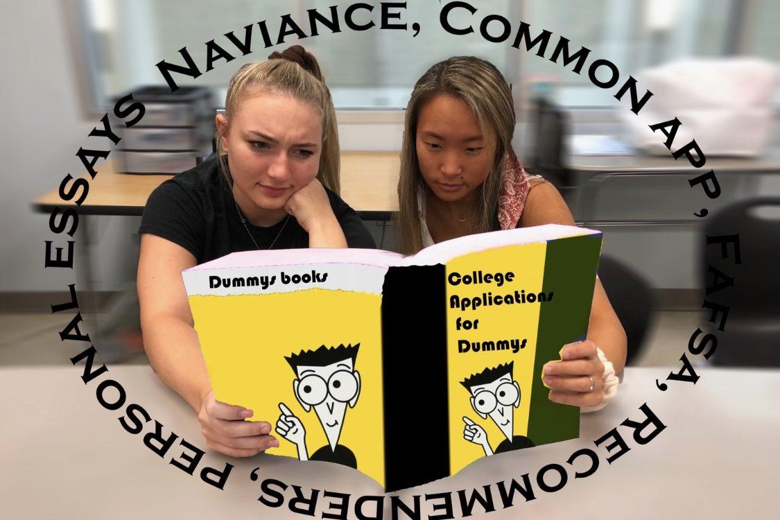 Alaina Burger and Grace Gaydosh struggle to make sense of college applications.
