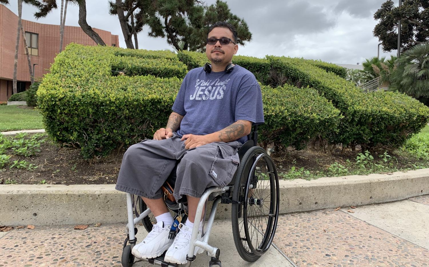 David Nieto poses for a picture outside the Bookstore at El Camino College on Thursday, Sept. 26. As a third-year student, he has maintained a 4.0 G.P.A while experiencing food and housing insecurities that have forced him to live in his car for a few months last year.