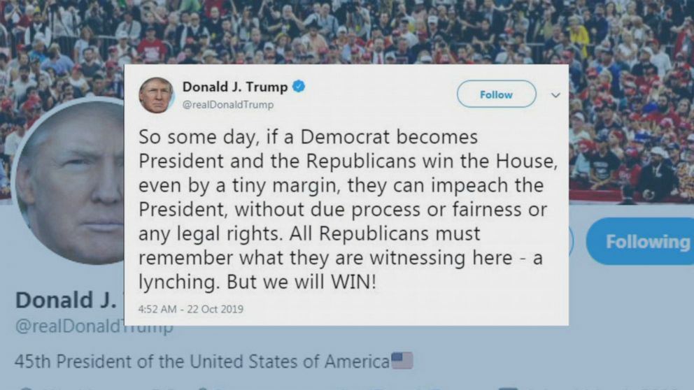 President Donald Trump compared the investigation into a possible impeachment to a lynching in a tweet on October 22.