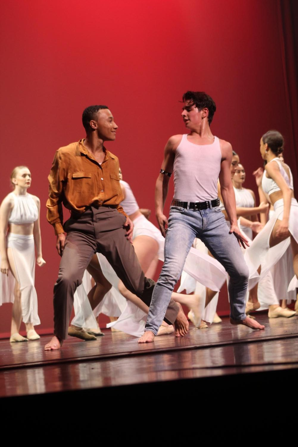 "Dance sophomore Mason Evans and dance junior Brenan Gonzalez were just two of several male dancers in last year's Spring Concert. ""I think the biggest challenge [of being a male dancer] is all of the stigmas and stereotypes that come around,"" dance junior Alex Thomas said. ""[People say], 'Oh, ballet or dance is not a sport and you don't have to work as hard and this and that.' Growing up and defying all of those odds is a challenge."""