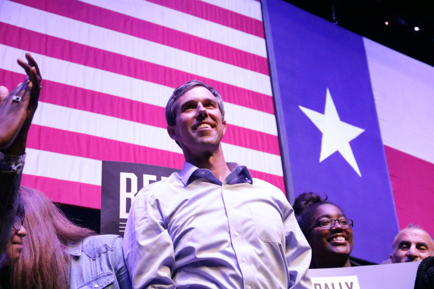 """Democratic Presidential Candidate Beto O'Rourke looks into the audience cheering for him after his speech addressing immigration issues, gun reform, climate change and healthcare. Beto O'Rourke held his rally at The Theatre at Grand Prairie on Thursday as a counter rally themed """"Rally Against Hate."""""""