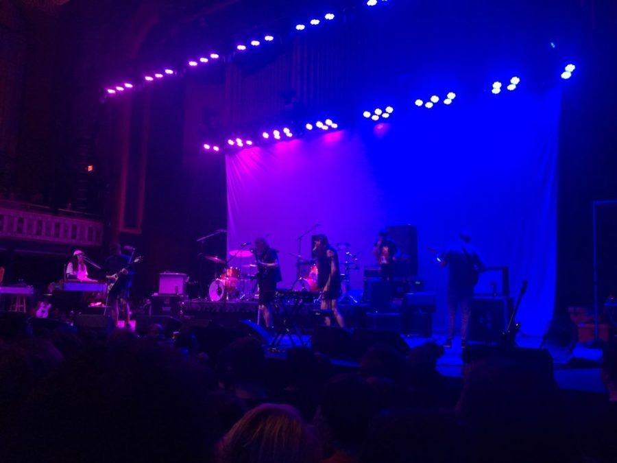 King+Gizzard+and+the+Lizard+Wizard+setting+up+for+their+set+at+the+Tabernacle.+Stu+McKenzie+checks+guitars+and+Ambrose+Kenny+Smith+checks+microphones.