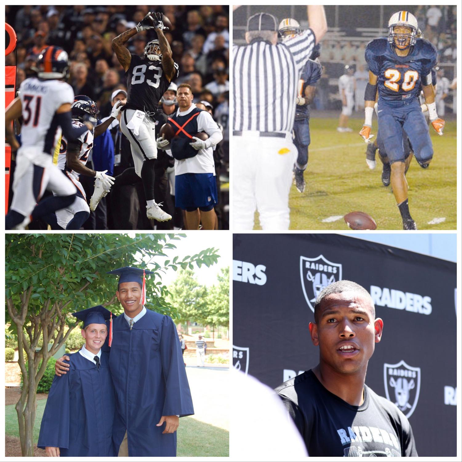 """Darren Waller, former NC student-athlete, graduated with an athletic scholarship to Georgia Tech, eventually being drafted by the Baltimore Ravens into the NFL. clockwise from top right: playing in a playoff game in Emory Sewell Stadium, Waller approaches the bright lights of the NFL stage playing for the Oakland Raiders,  at graduation alongside Evan Stack, another NC alum, and now regularly playing with the Raiders.  Waller credits much of his preparation to his time at NC. """"I play a lot of Madden NFL 20, and I'm really excited to use Darren Waller on the Raiders. It's super cool that he played here at North Cobb and made it big in the NFL,"""" junior Brendan Koch said."""