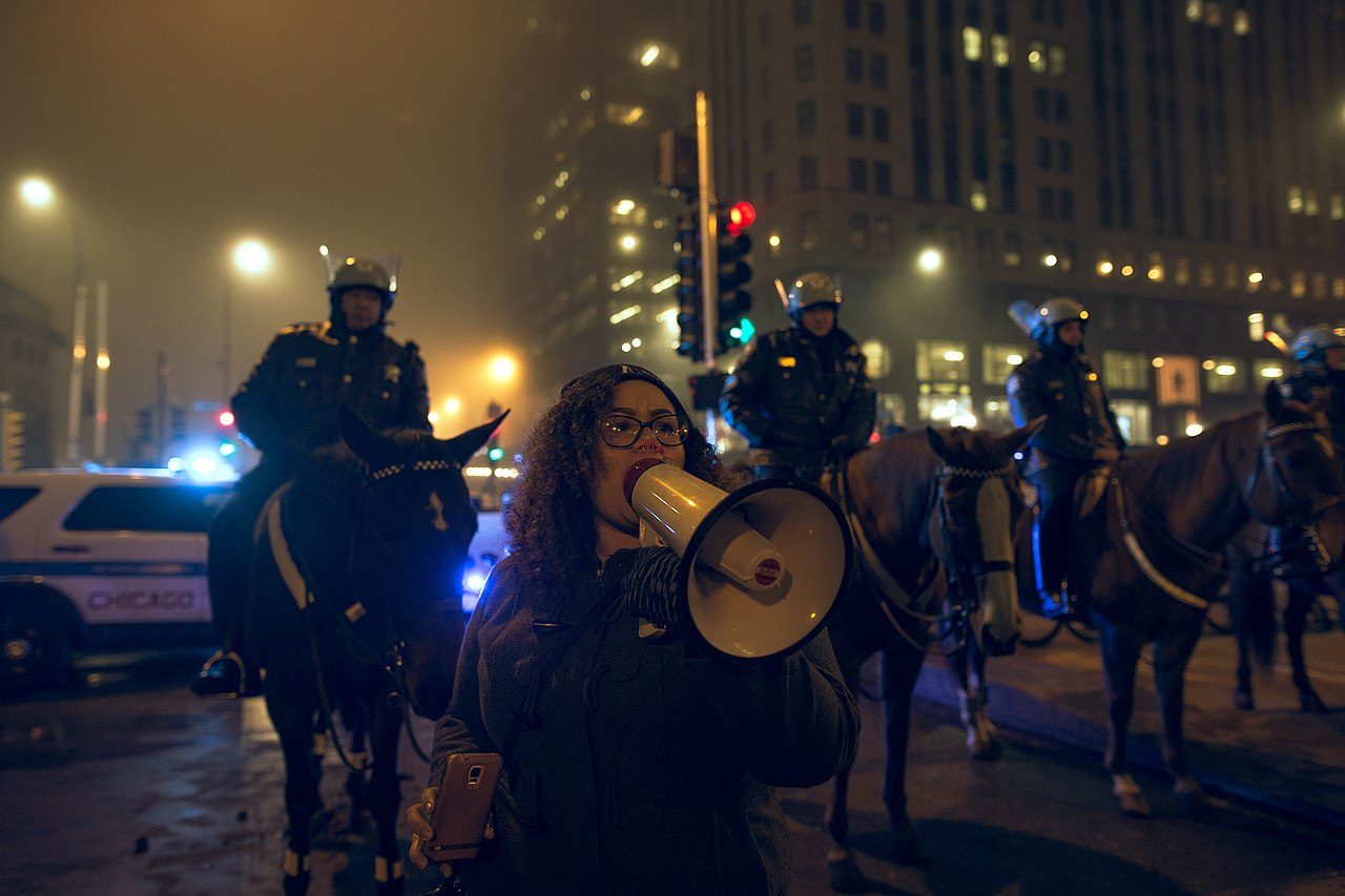 Protests can sometimes turn rowdy, such as this 2017 Chicago protest against Trump.