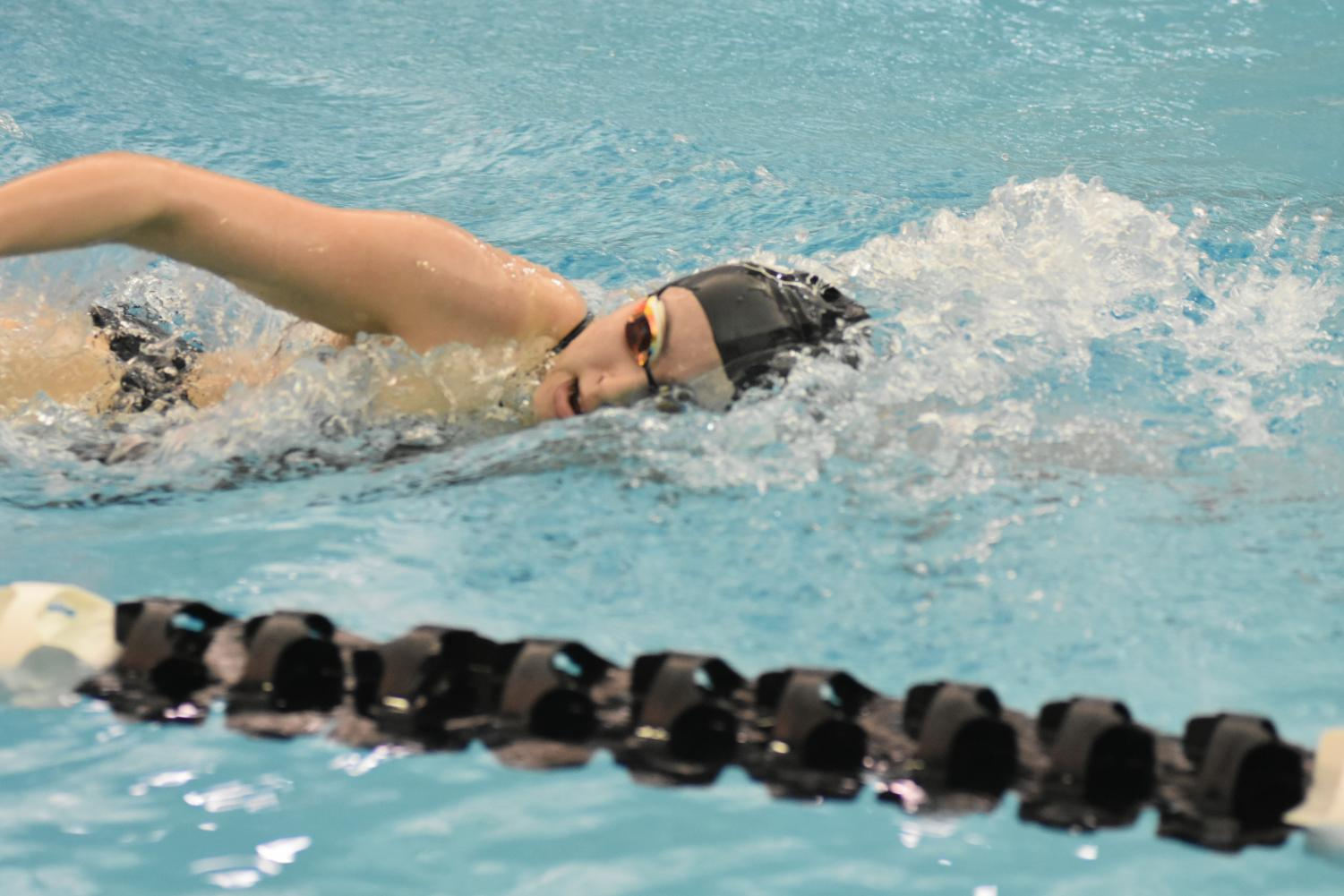 Senior Luisa Alcala swims freestyle during a meet last January. It took her a number of months to get back into shape after being sidelined with a torn labrum.