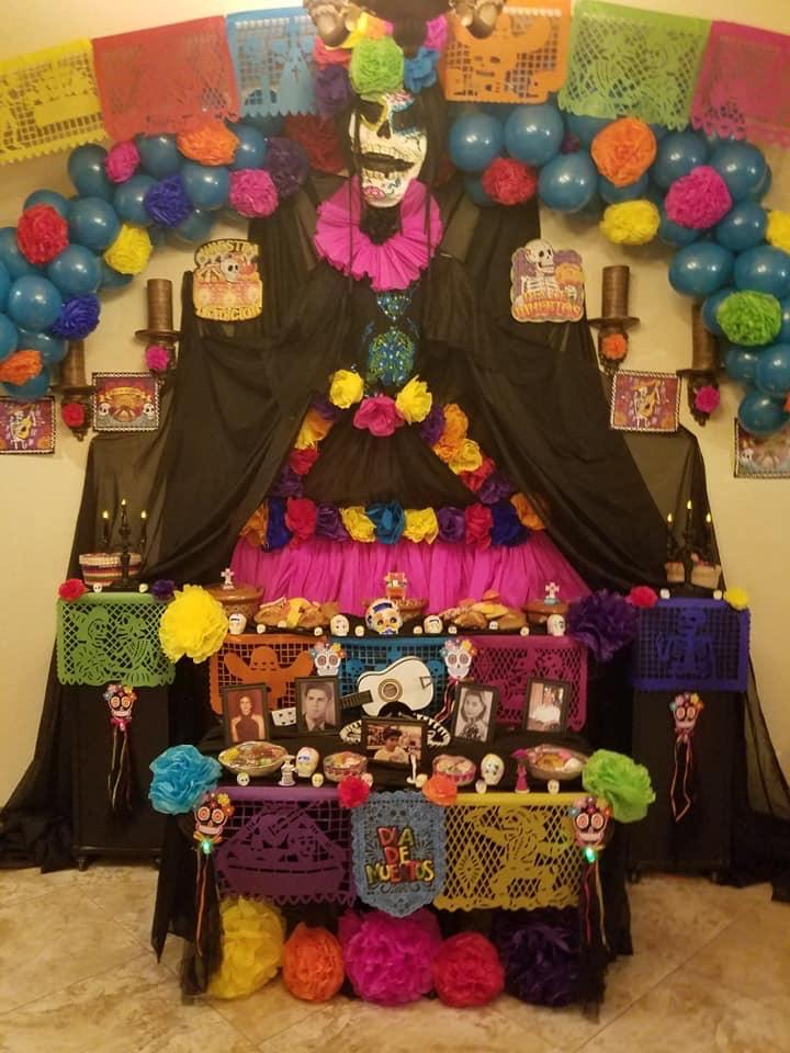 This is the ofrenda that is decorated on Día de los Muertos.