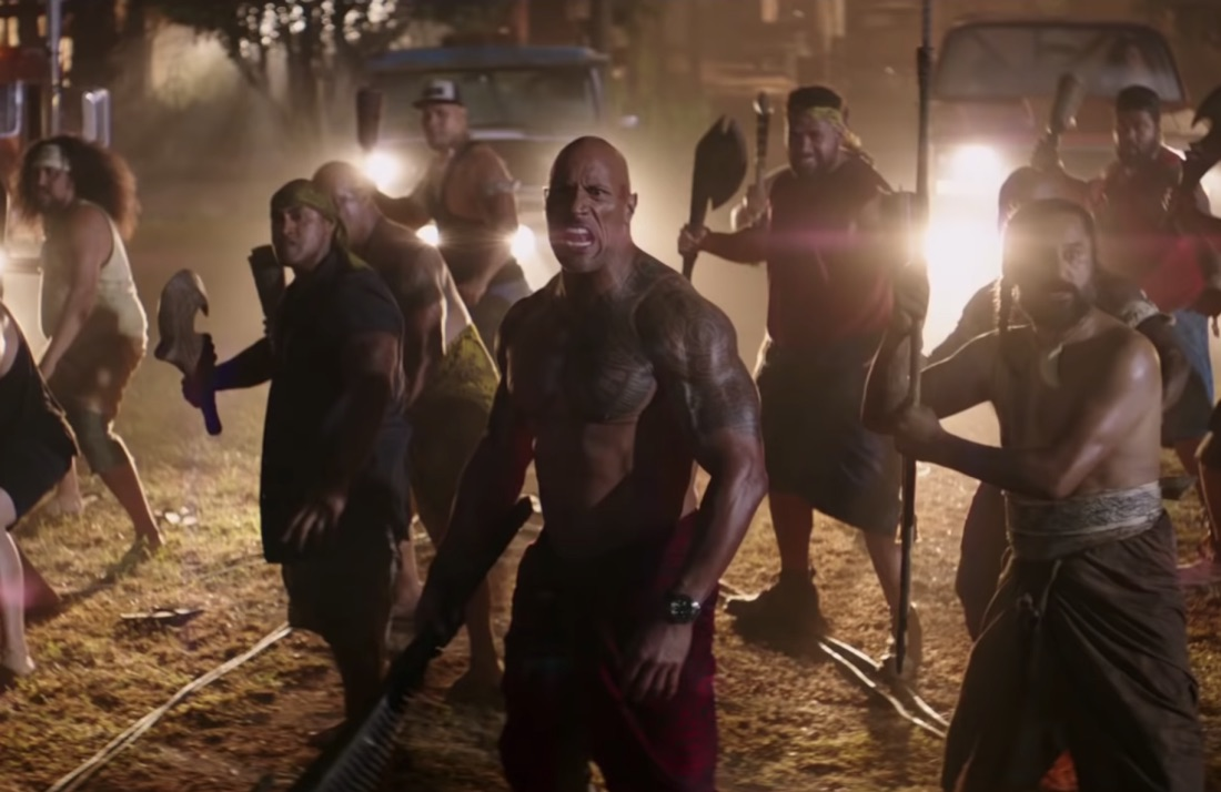 """Hobbs leads his army of brothers in a war dance before going to battle. """"Hobbs and Shaw"""" explores Polynesian culture, which is rare in major Hollywood productions."""