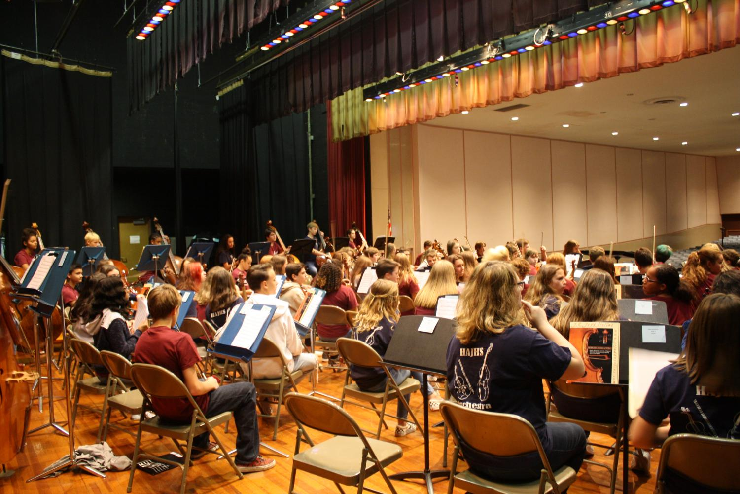 MUSIC TIME! The Altoona and Hollidaysburg orchestra students all cram on to the stage during a concert earlier this year.  On Dec.8 at 3 p.m,  the youth orchestra students will perfom a concert honoring Kiera Chirdon and it will be held at the Mishler theater.