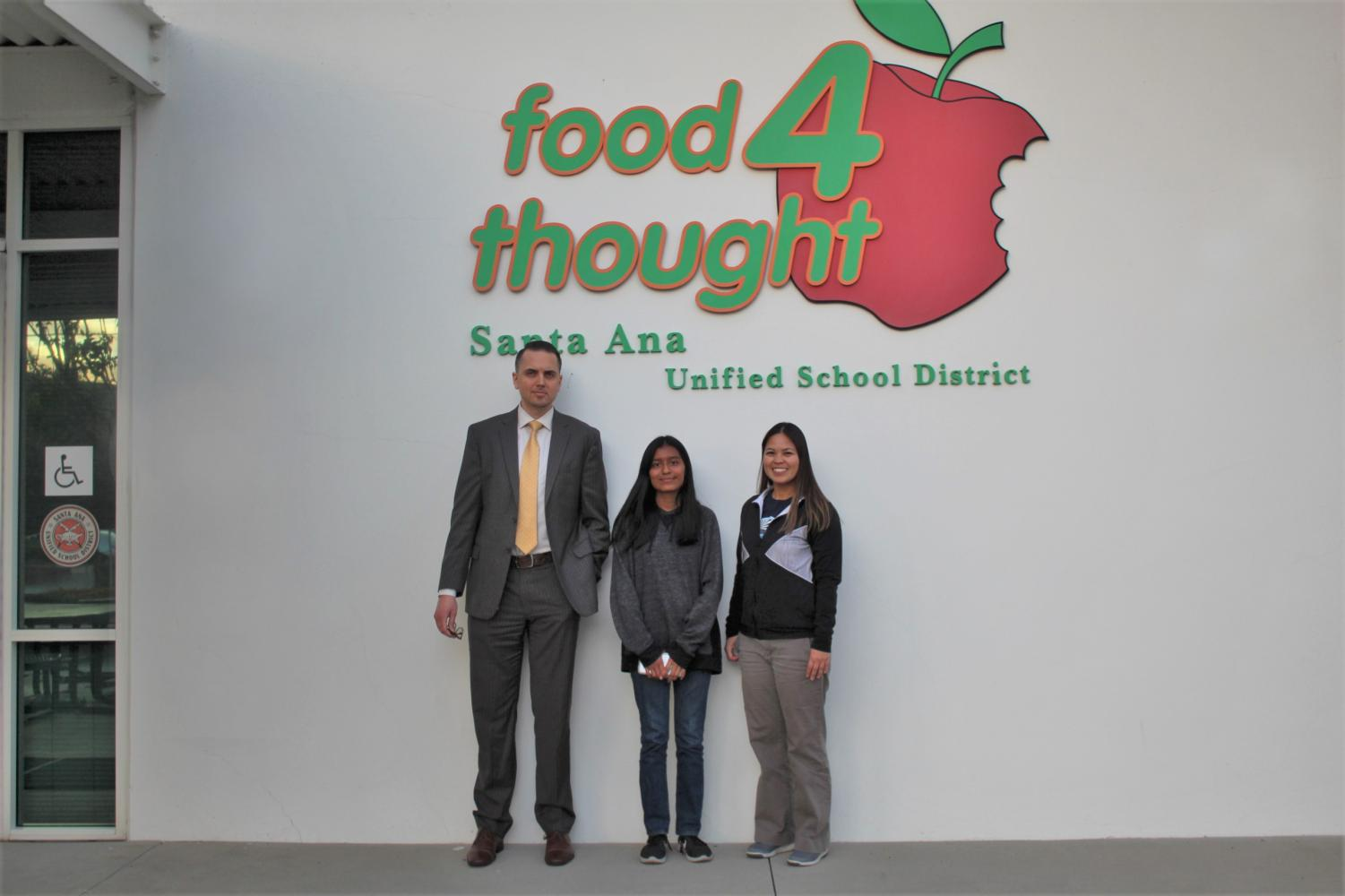 From left to right: Assistant Director of SAUSD Nutrition Services Josh Goddard, News Editor Emily Corona, and Nutrition Specialist Tracy Zoleta discuss students' food needs.
