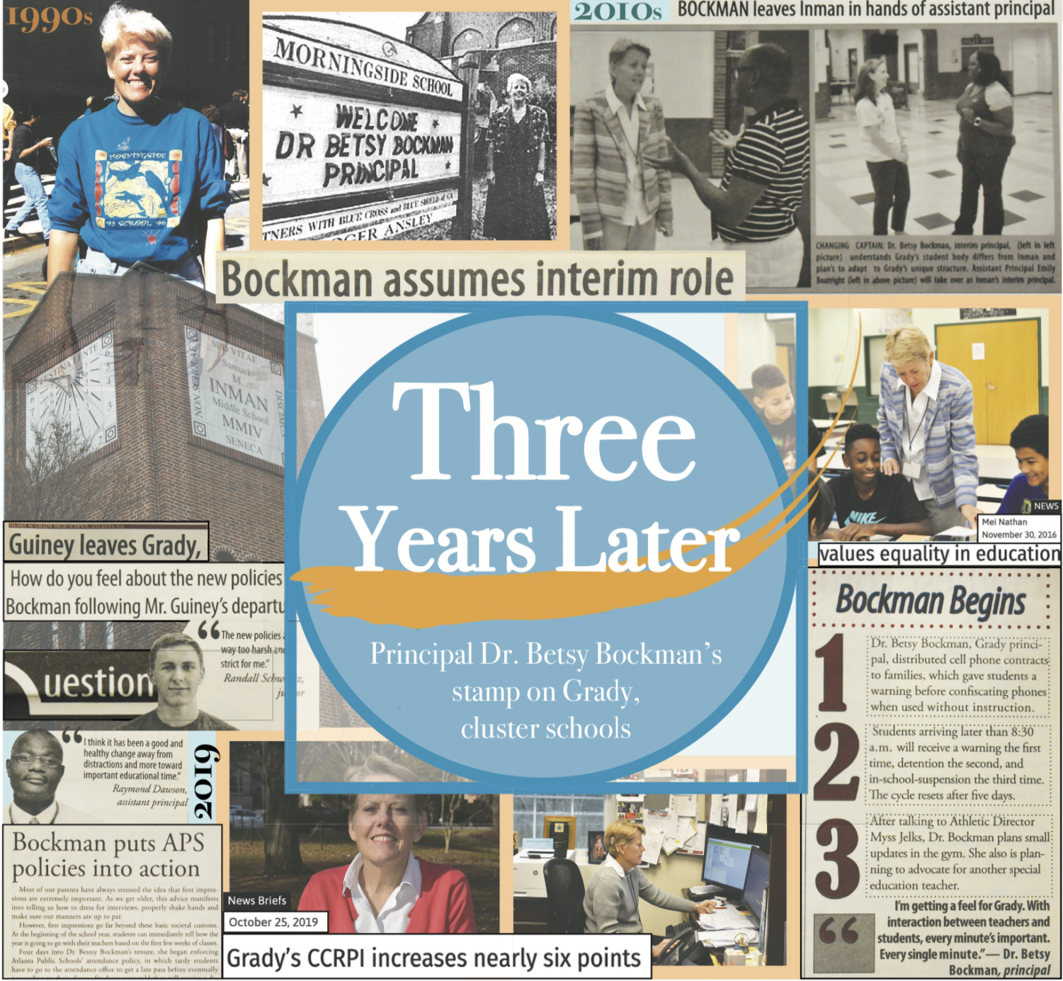 SCRAPBOOK: Above clippings and photographs from the Southerner's archives and Principal Dr. Betsy Bockman's records illustrate her impact on Atlanta Public Schools at Morningside Elementary, Inman Middle and Grady High. 2019 marks her third year at Grady.