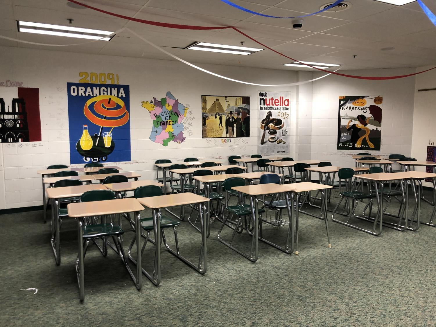 French Teacher Laurie Van Houten's empty classroom where she teaches a mixed class of French 4 and AP French.