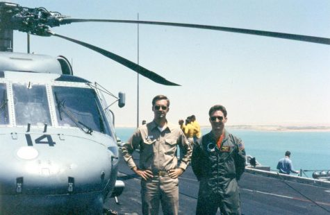 Whitman parent Paul Krush (left) aboard USS Theodore Roosevelt in the Suez Canal in July of 1993.