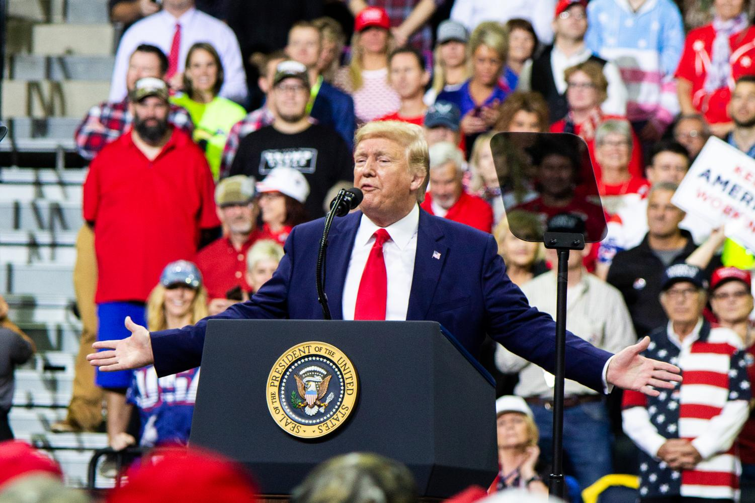 President Donald Trump addresses the crowd at Target Center in Minneapolis, Minnesota, for his 2020 presidential campaign rally on October 10, 2019. Trump continues to campaign despite the impeachment process beginning. The Senate began hearing testimonies this week.