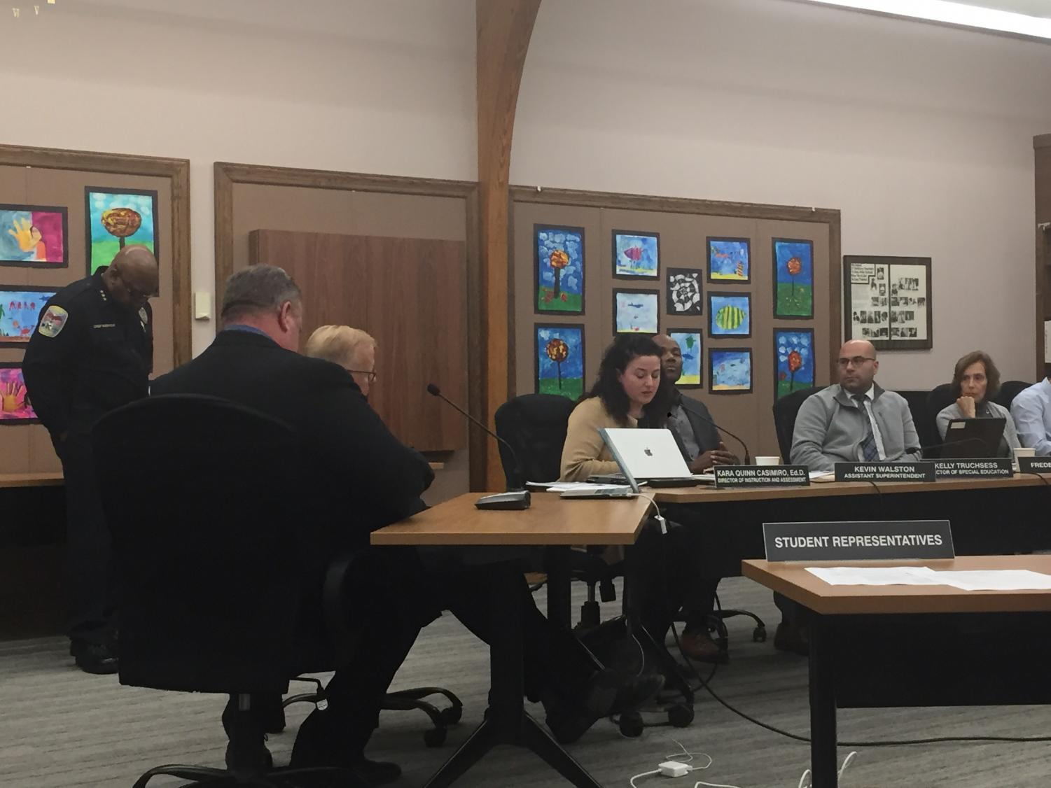 Mayor Mark Boughton and Principal Dan Donovan sit in front of the Danbury Board of Education on Nov. 26 to address conflicts in the past week.
