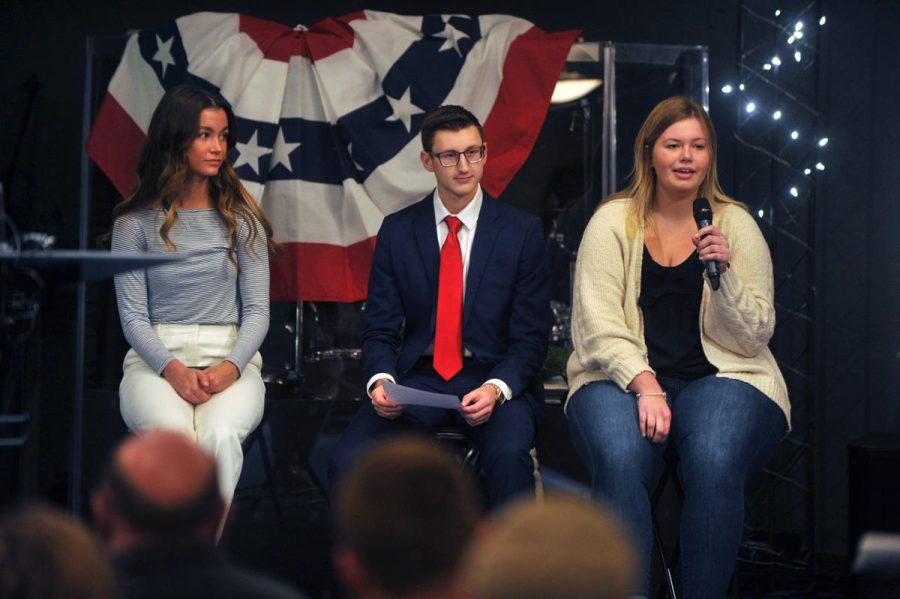 Republican+Teenage+Campus+Leaders%2C+Olivia+Schilling+%28left%29%2C+Ben+Crawford+%28middle%29+and+Grace+Thalacker+%28right%29+voice+their+opinions+at+the+immigration+forum+in+the+Pleasant+View+Baptist+Church+on+Monday.