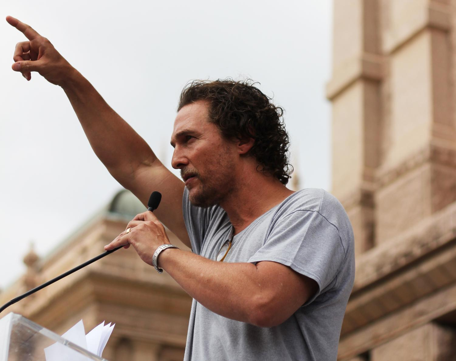 "Actor and activist Matthew McConaughey was among the speakers at the %23MarchForOurLives in downtown Austin on March 24, 2018, which attracted more than 10,000 to the Capitol today. ""This is an American issue,"